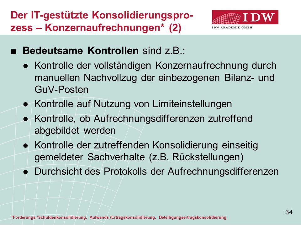 Der IT-gestützte Konsolidierungspro-zess – Konzernaufrechnungen* (2)