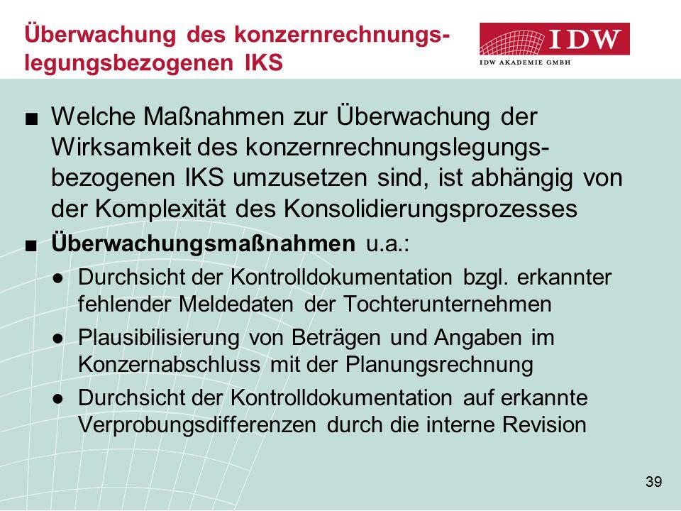Überwachung des konzernrechnungs-legungsbezogenen IKS