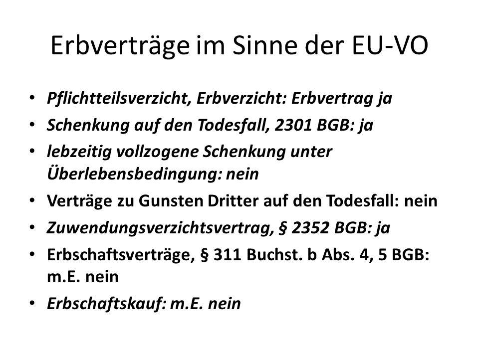 Erbverträge im Sinne der EU-VO