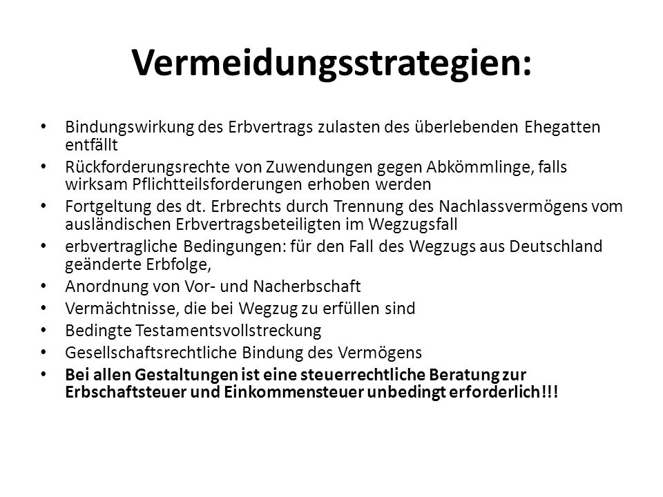 Vermeidungsstrategien: