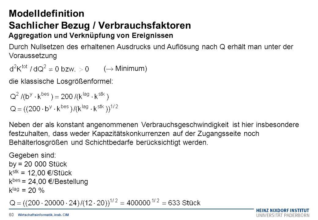 Modelldefinition Sachlicher Bezug / Verbrauchsfaktoren Aggregation und Verknüpfung von Ereignissen