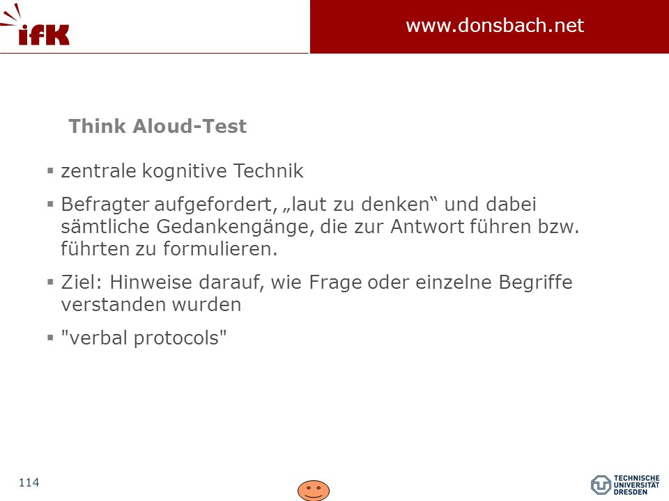 Think Aloud-Test zentrale kognitive Technik.