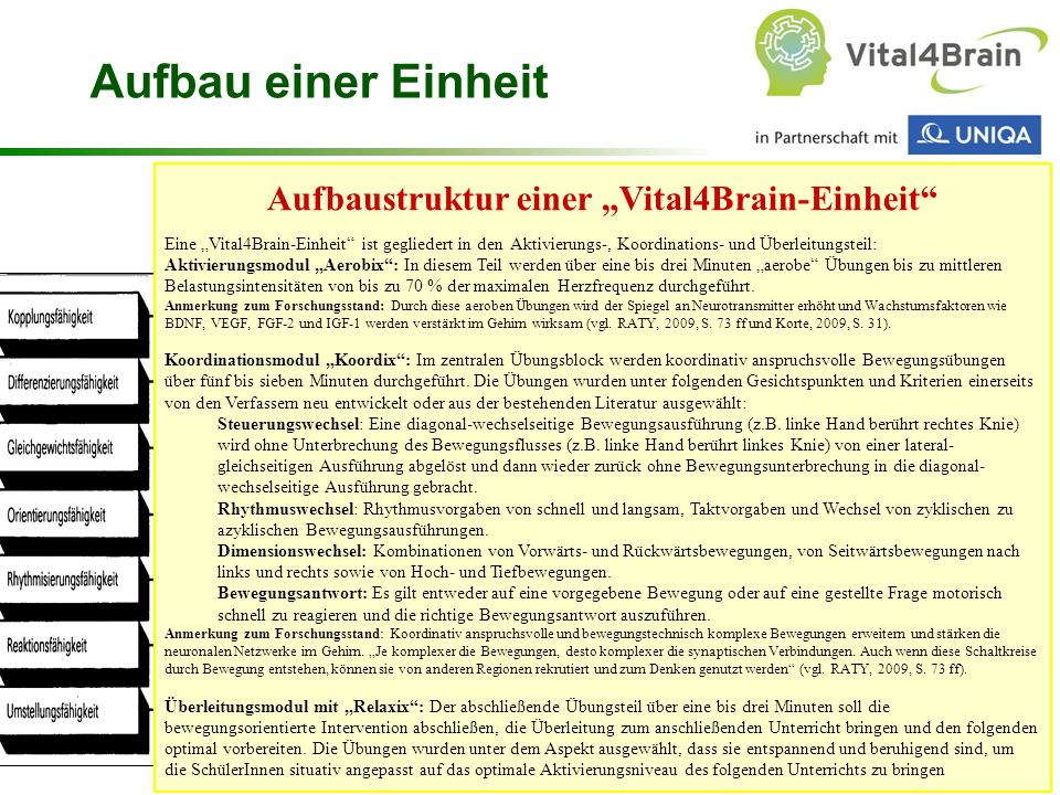 """Aufbaustruktur einer """"Vital4Brain-Einheit"""