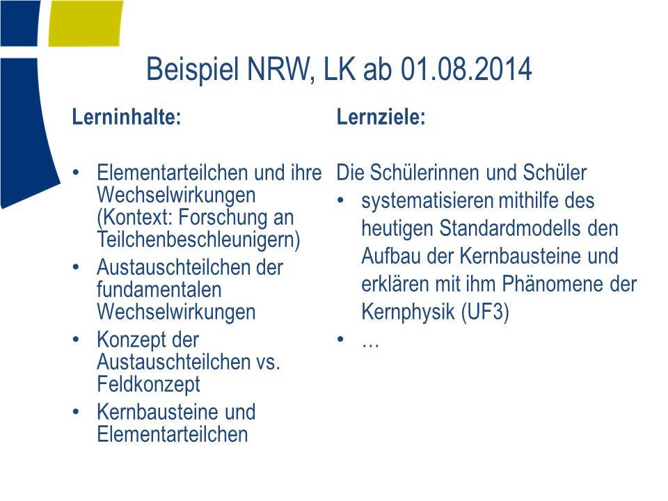 Beispiel NRW, LK ab 01.08.2014 Lernziele: Lerninhalte: