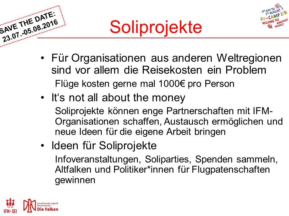 Soliprojekte Für Organisationen aus anderen Weltregionen sind vor allem die Reisekosten ein Problem.