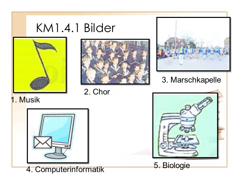 KM1.4.1 Bilder 3. Marschkapelle 2. Chor 1. Musik 5. Biologie