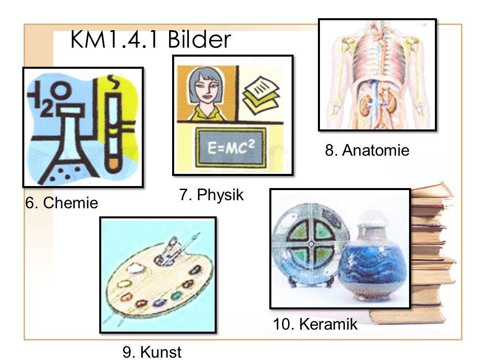 KM1.4.1 Bilder 8. Anatomie 7. Physik 6. Chemie 10. Keramik 9. Kunst