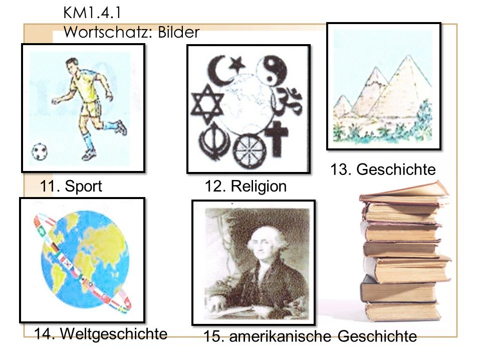 KM1.4.1 Wortschatz: Bilder 13. Geschichte. 11.