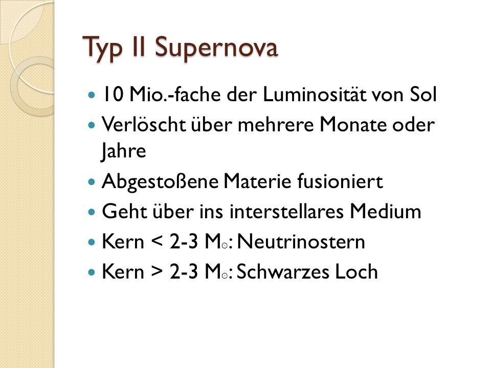 Typ II Supernova 10 Mio.-fache der Luminosität von Sol