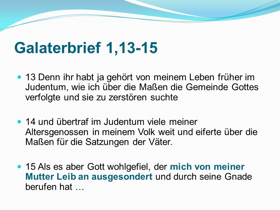 Galaterbrief 1,13-15