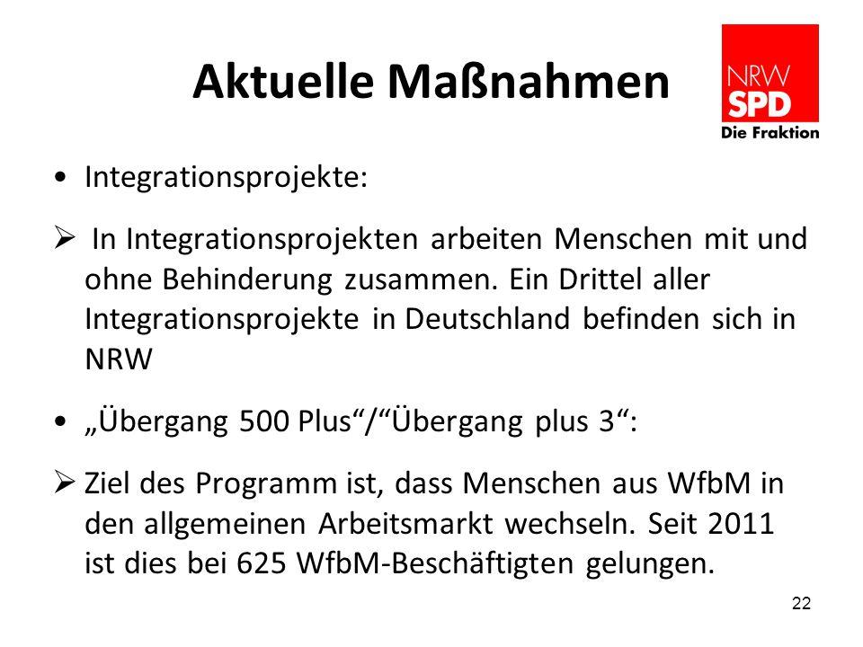 Aktuelle Maßnahmen Integrationsprojekte: