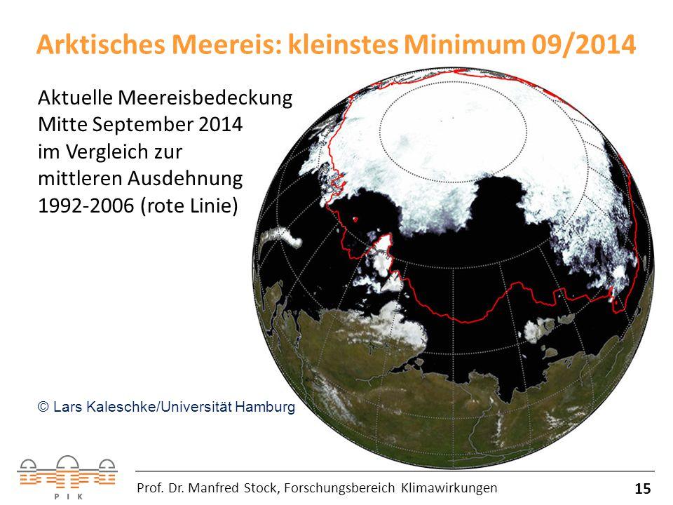 Arktisches Meereis: kleinstes Minimum 09/2014