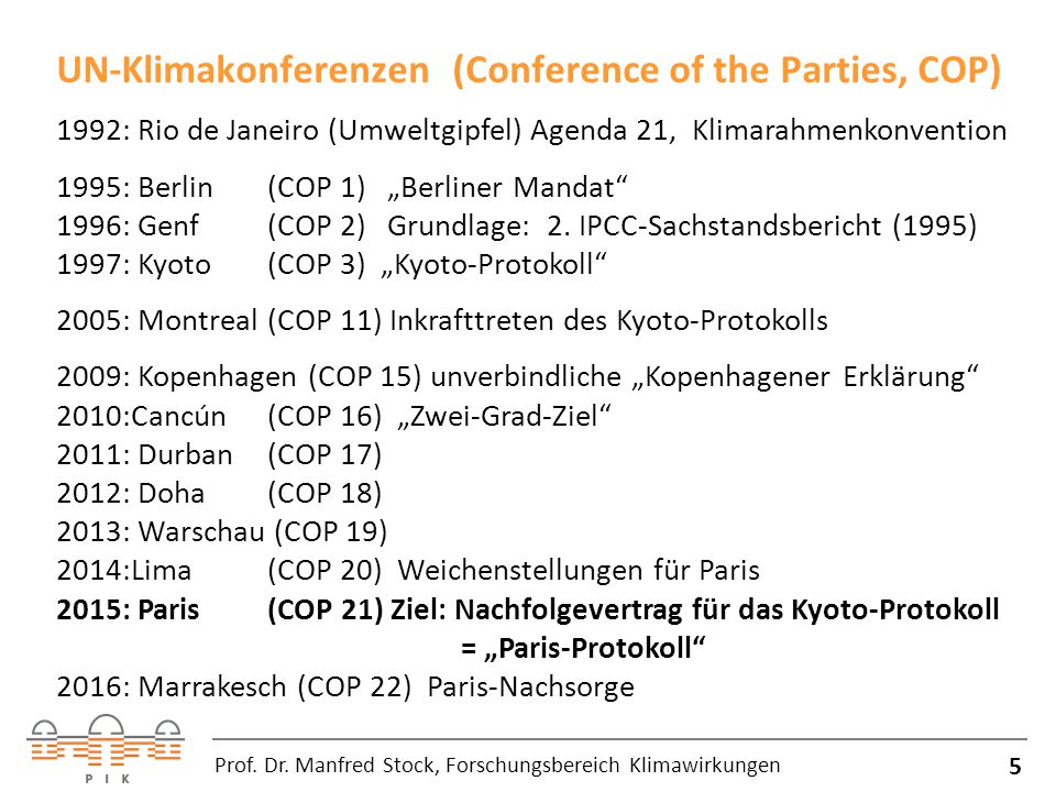 UN-Klimakonferenzen (Conference of the Parties, COP)