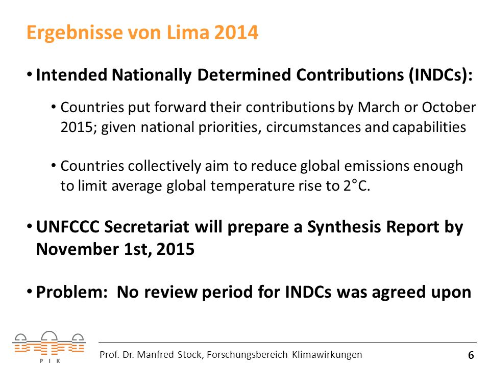 Ergebnisse von Lima 2014 Intended Nationally Determined Contributions (INDCs):