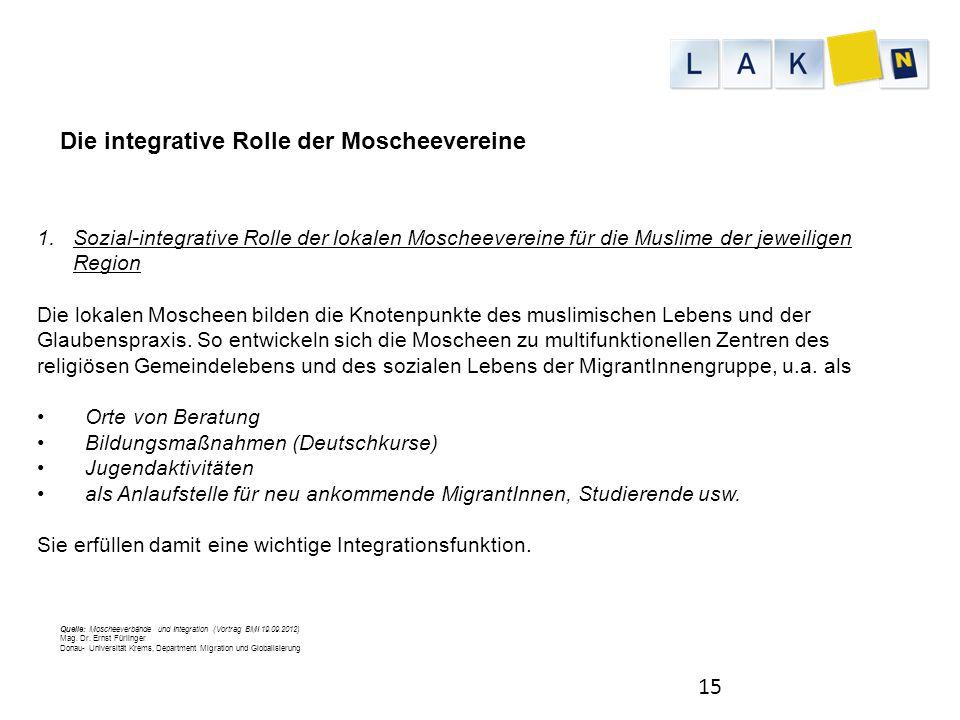 Die integrative Rolle der Moscheevereine