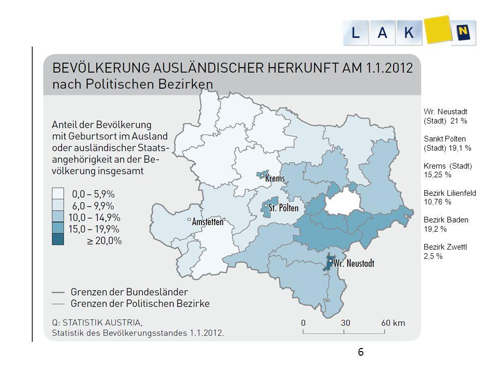Wr. Neustadt (Stadt) 21 % Sankt Pölten (Stadt) 19,1 % Krems (Stadt) 15,25 % Bezirk Lilienfeld 10,76 %