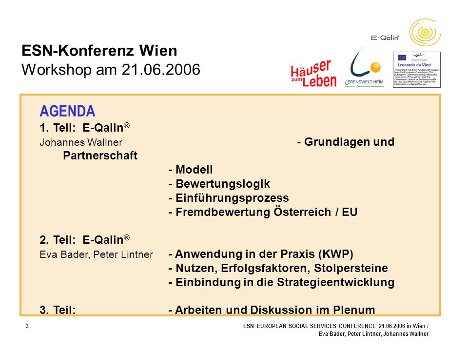 ESN-Konferenz Wien Workshop am 21.06.2006