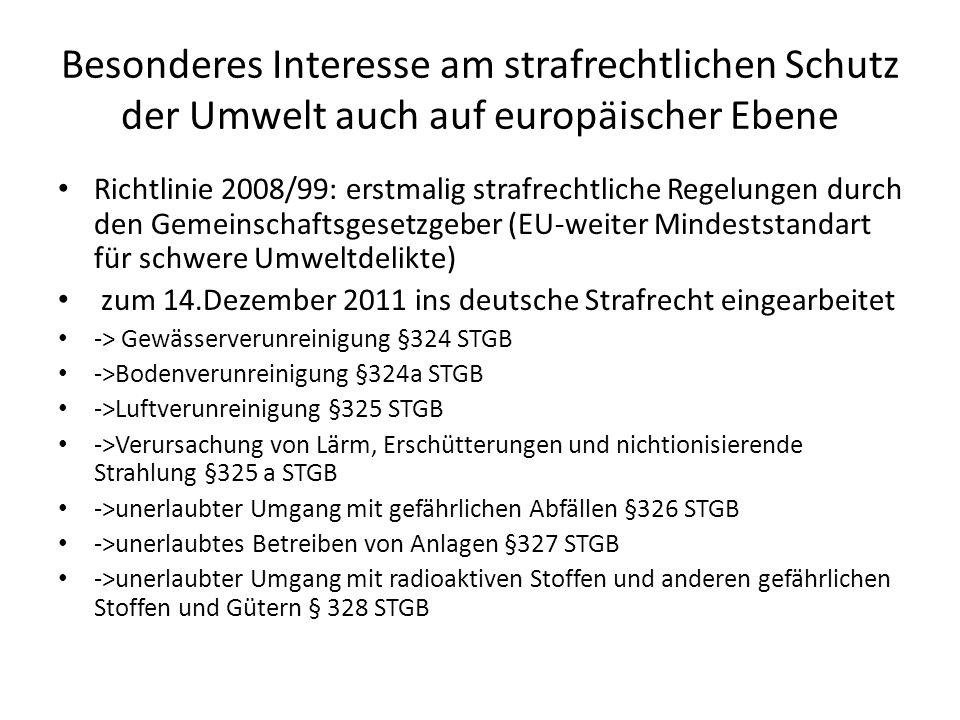 Besonderes Interesse am strafrechtlichen Schutz der Umwelt auch auf europäischer Ebene