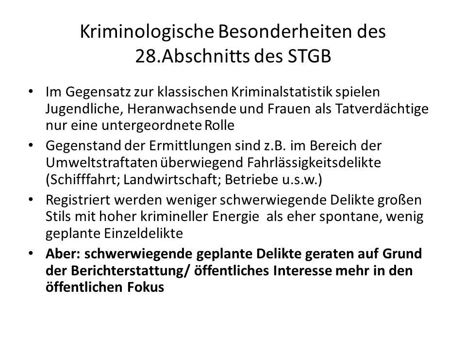Kriminologische Besonderheiten des 28.Abschnitts des STGB