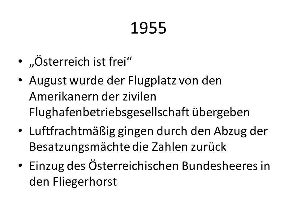 """1955 """"Österreich ist frei August wurde der Flugplatz von den Amerikanern der zivilen Flughafenbetriebsgesellschaft übergeben."""