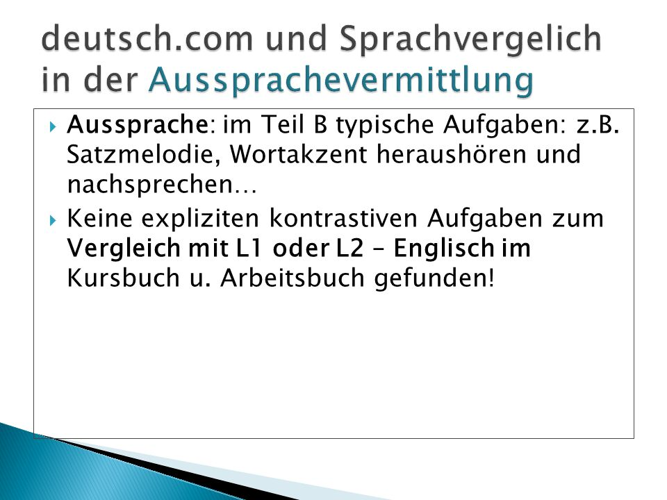 deutsch.com und Sprachvergelich in der Aussprachevermittlung