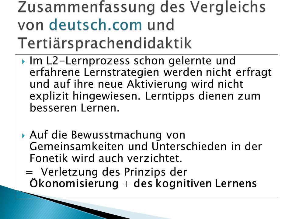 Zusammenfassung des Vergleichs von deutsch