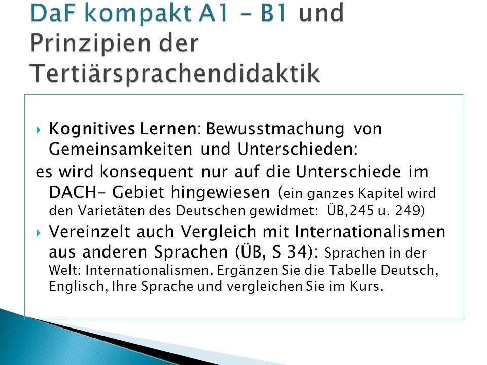DaF kompakt A1 – B1 und Prinzipien der Tertiärsprachendidaktik