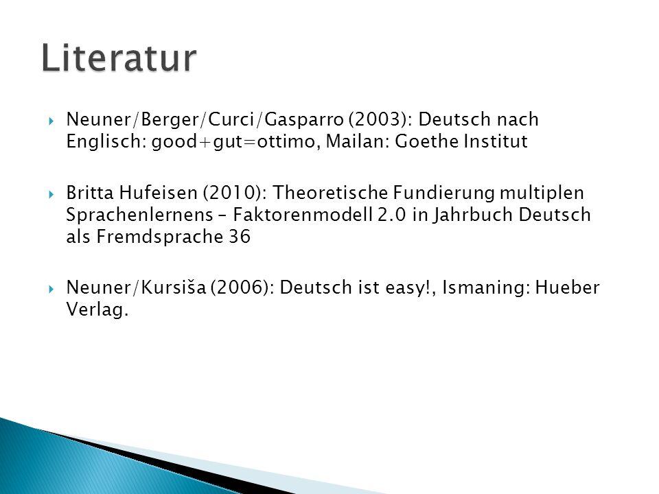 Literatur Neuner/Berger/Curci/Gasparro (2003): Deutsch nach Englisch: good+gut=ottimo, Mailan: Goethe Institut.