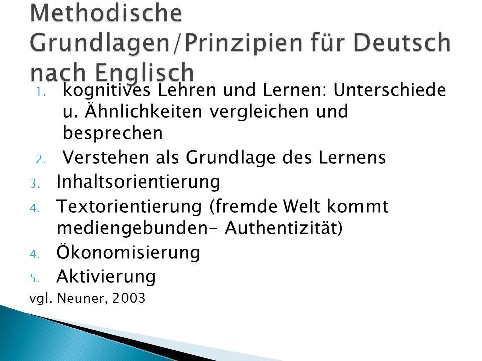 Methodische Grundlagen/Prinzipien für Deutsch nach Englisch