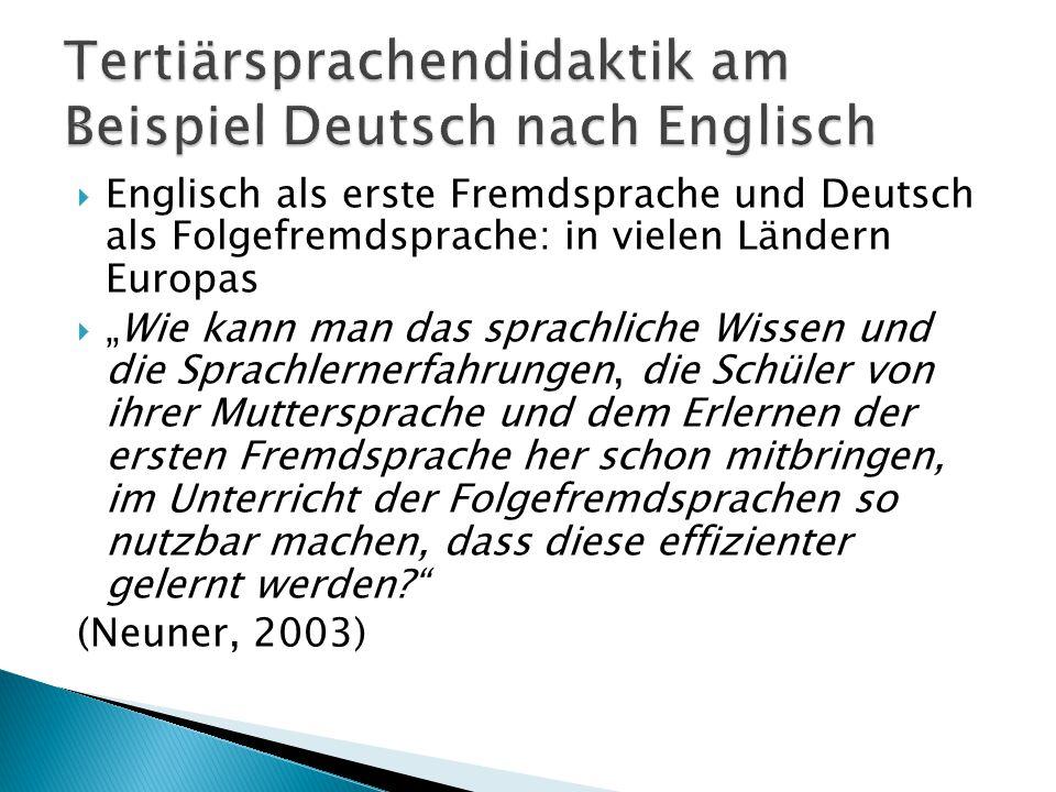 Tertiärsprachendidaktik am Beispiel Deutsch nach Englisch