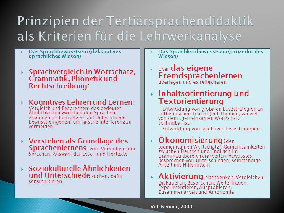 Prinzipien der Tertiärsprachendidaktik als Kriterien für die Lehrwerkanalyse