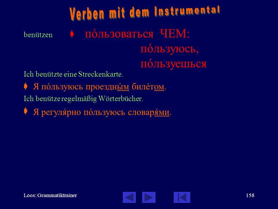 Verben mit dem Instrumental