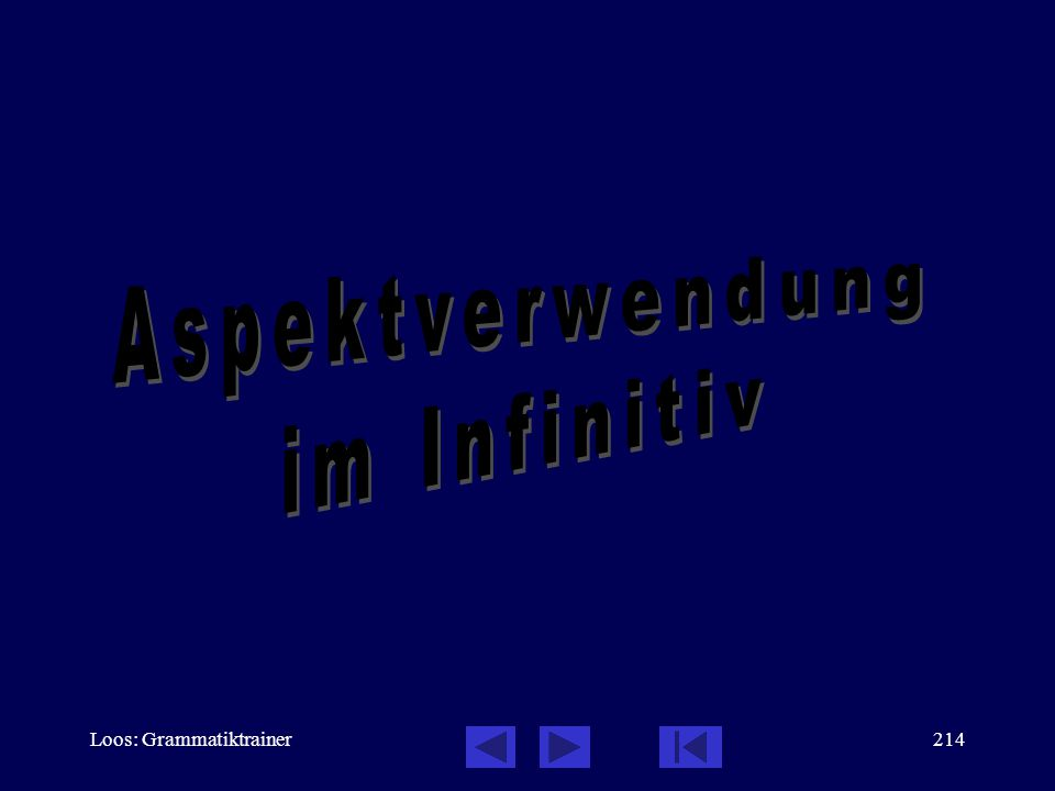 Aspektverwendung im Infinitiv Loos: Grammatiktrainer
