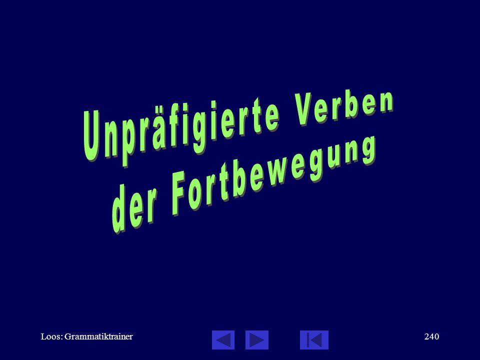 Unpräfigierte Verben der Fortbewegung Loos: Grammatiktrainer