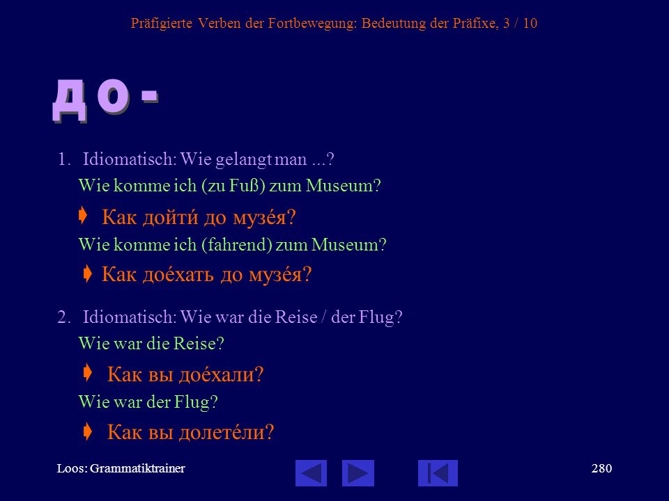 Präfigierte Verben der Fortbewegung: Bedeutung der Präfixe, 3 / 10