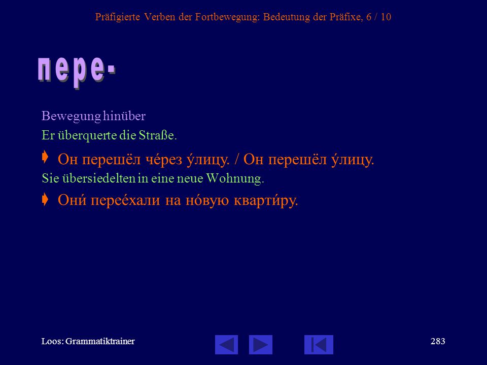 Präfigierte Verben der Fortbewegung: Bedeutung der Präfixe, 6 / 10