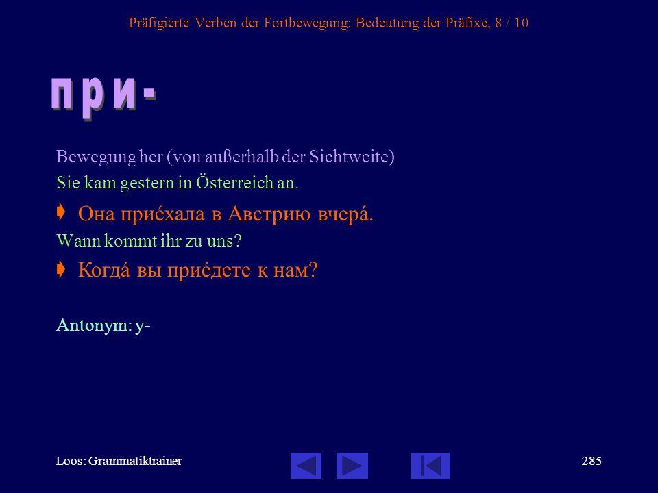 Präfigierte Verben der Fortbewegung: Bedeutung der Präfixe, 8 / 10