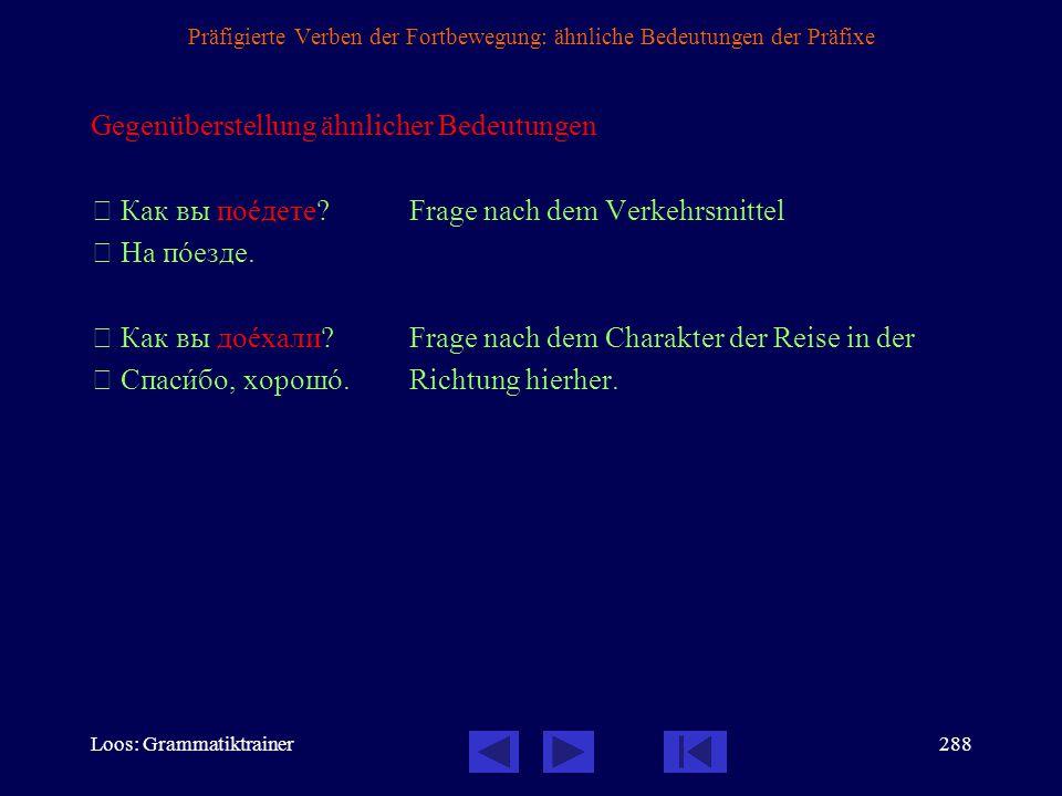 Präfigierte Verben der Fortbewegung: ähnliche Bedeutungen der Präfixe