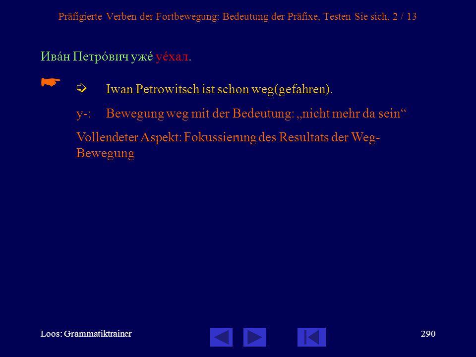   Iwan Petrowitsch ist schon weg(gefahren). Ивàн Петрîвич ужå уåхал.