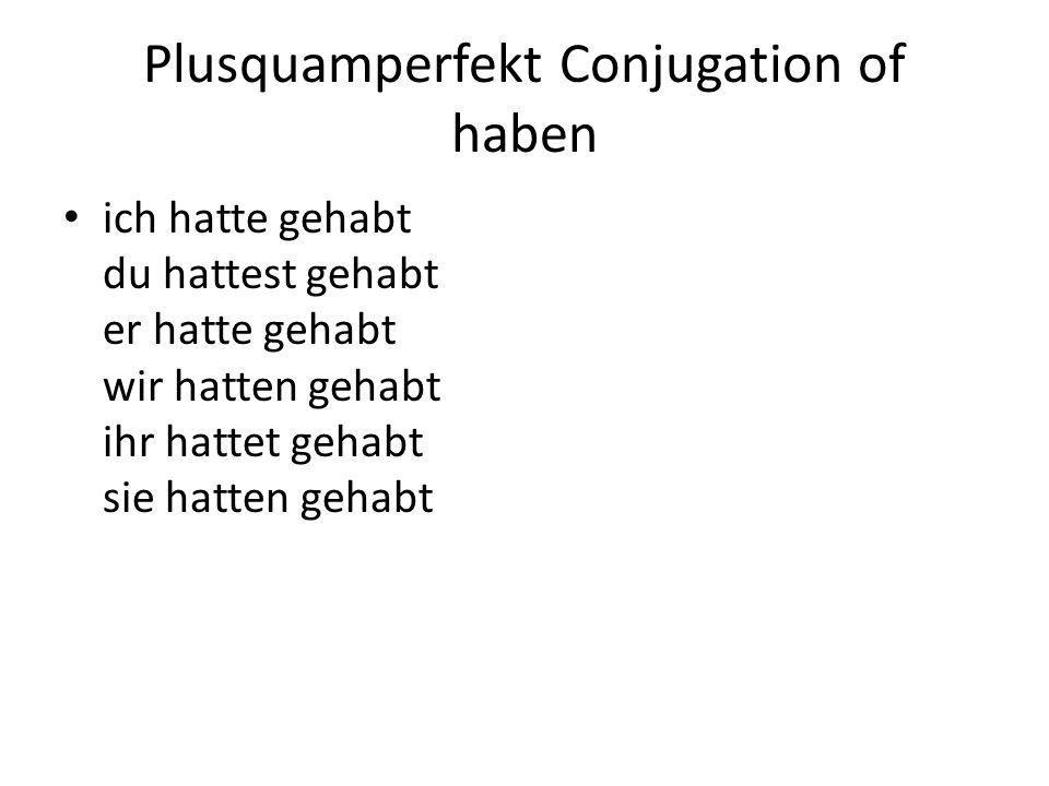 Plusquamperfekt Conjugation of haben