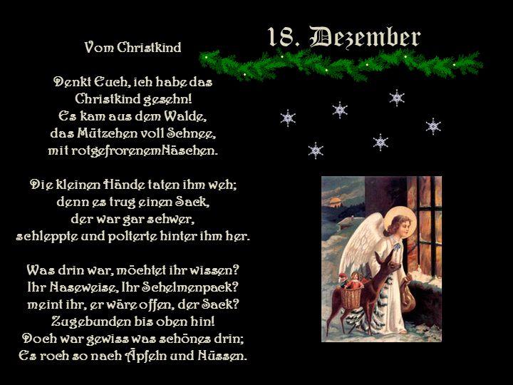 18. Dezember Vom Christkind Denkt Euch, ich habe das
