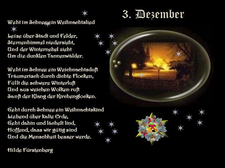 3. Dezember Weht im Schnee ein Weihnachtslied