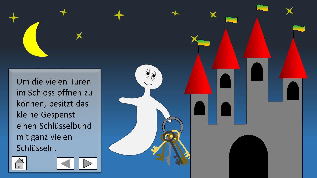 Um die vielen Türen im Schloss öffnen zu können, besitzt das kleine Gespenst einen Schlüsselbund mit ganz vielen Schlüsseln.