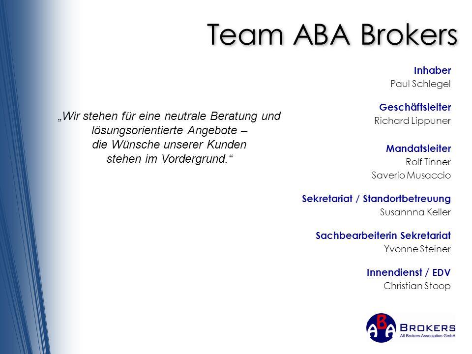 Team ABA Brokers Inhaber. Paul Schlegel. Geschäftsleiter. Richard Lippuner. Mandatsleiter. Rolf Tinner.