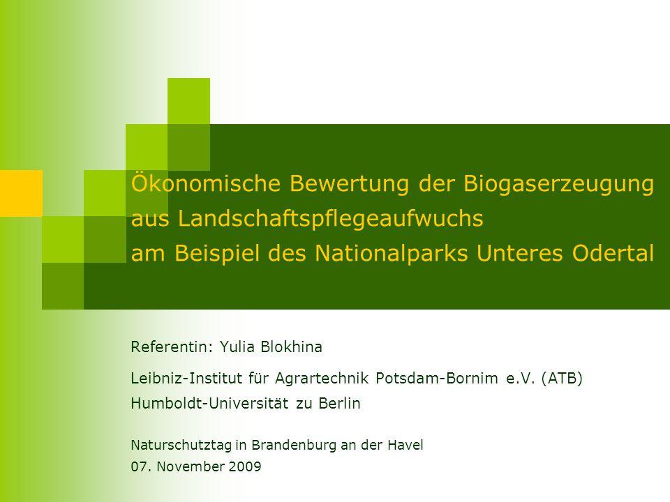 Ökonomische Bewertung der Biogaserzeugung aus Landschaftspflegeaufwuchs am Beispiel des Nationalparks Unteres Odertal