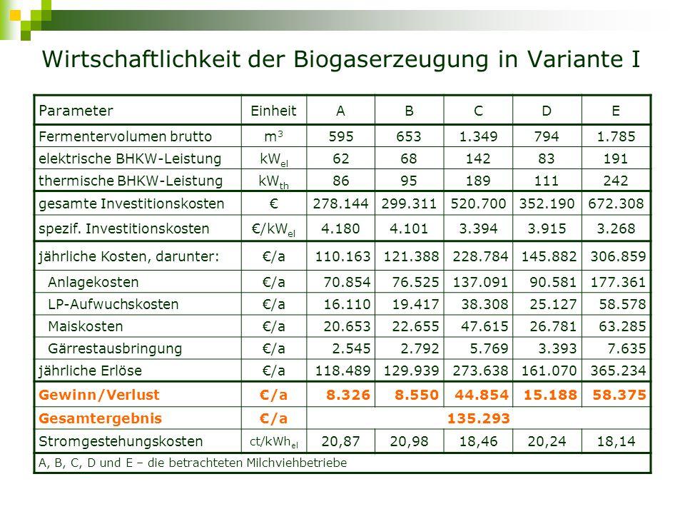 Wirtschaftlichkeit der Biogaserzeugung in Variante I