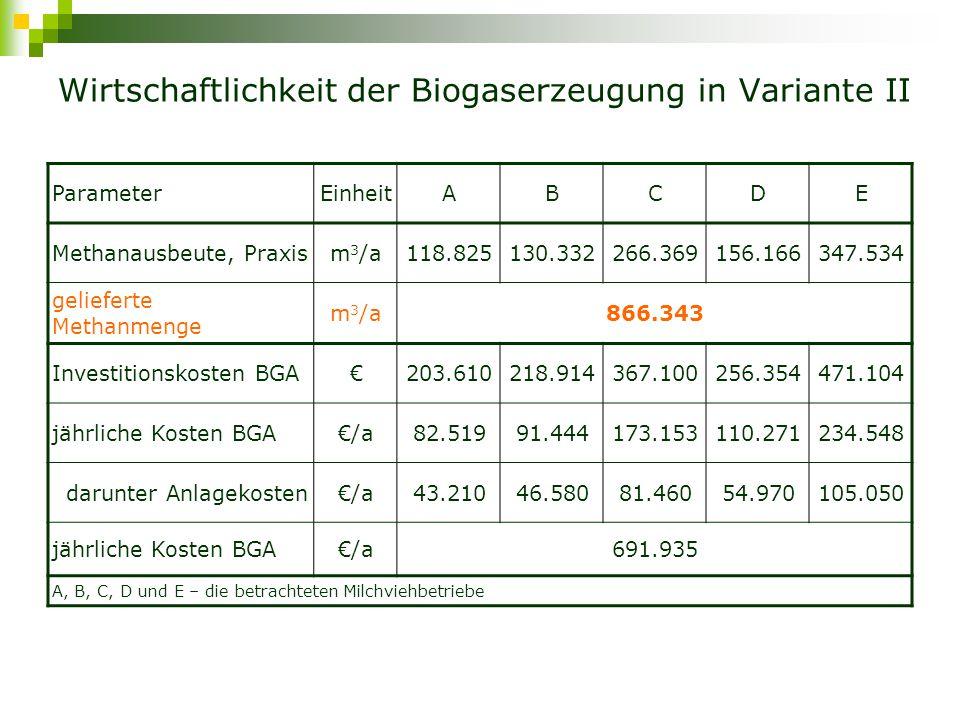 Wirtschaftlichkeit der Biogaserzeugung in Variante II