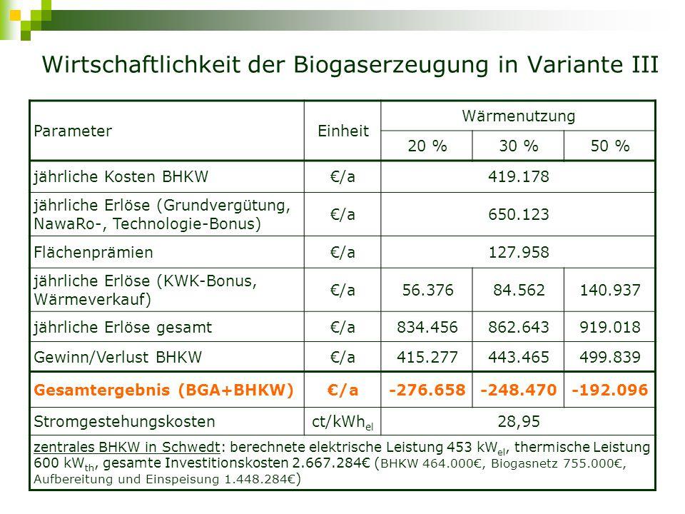 Wirtschaftlichkeit der Biogaserzeugung in Variante III