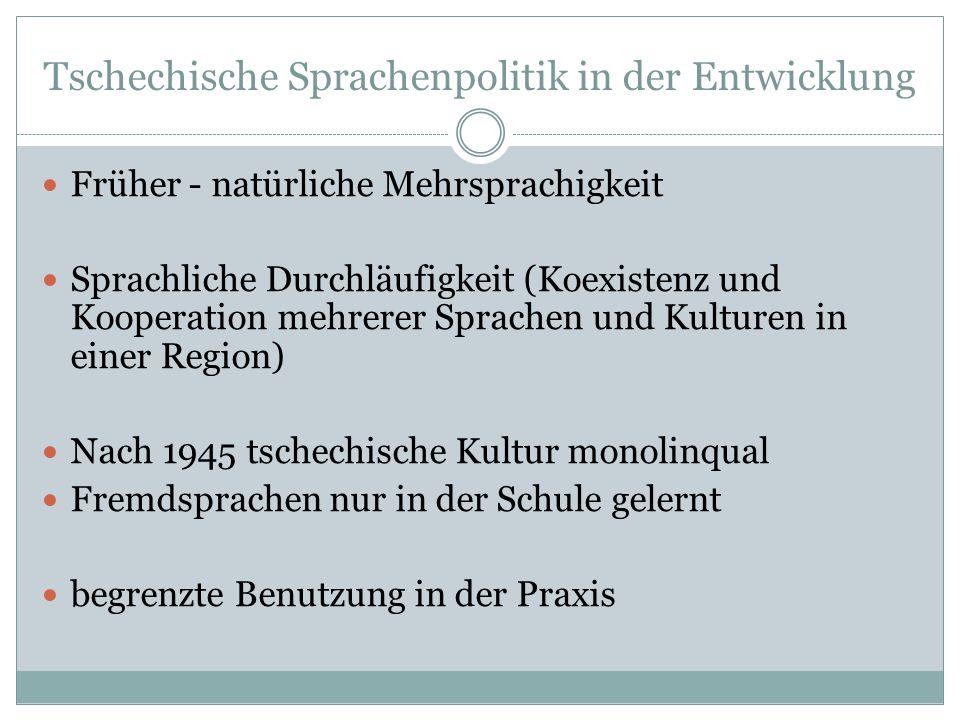 Tschechische Sprachenpolitik in der Entwicklung