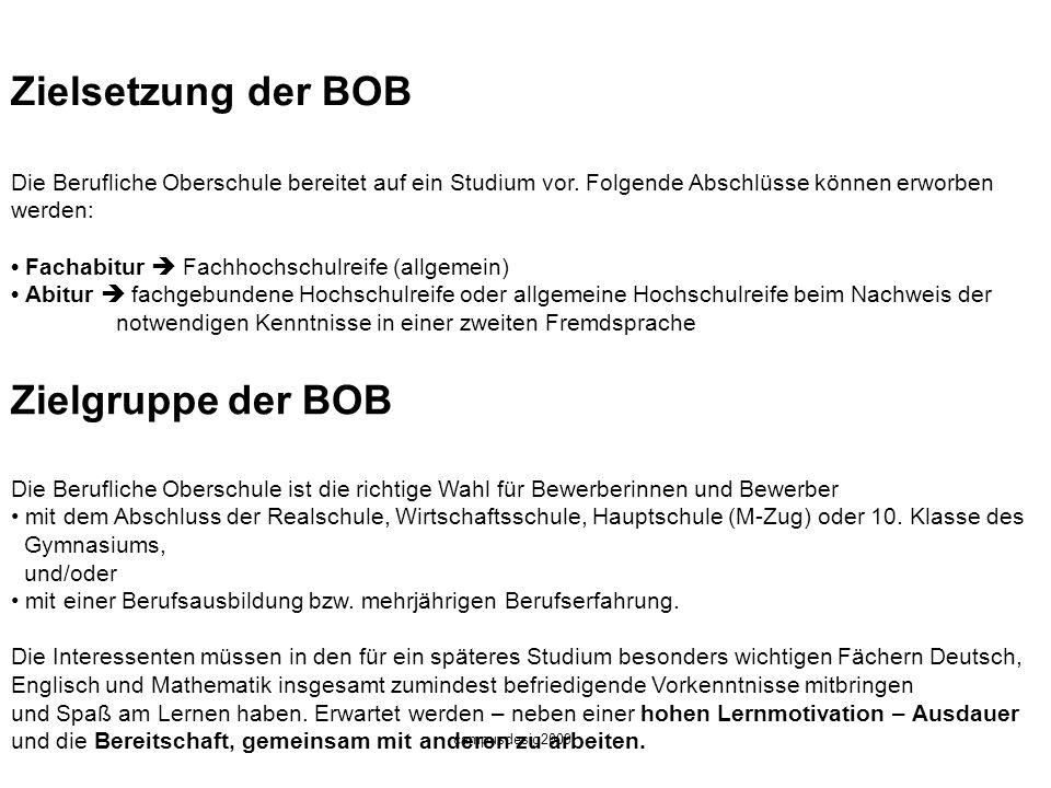 Zielsetzung der BOB Zielgruppe der BOB